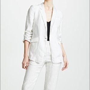 Joie Darryl Striped One Button linen blend Blazer
